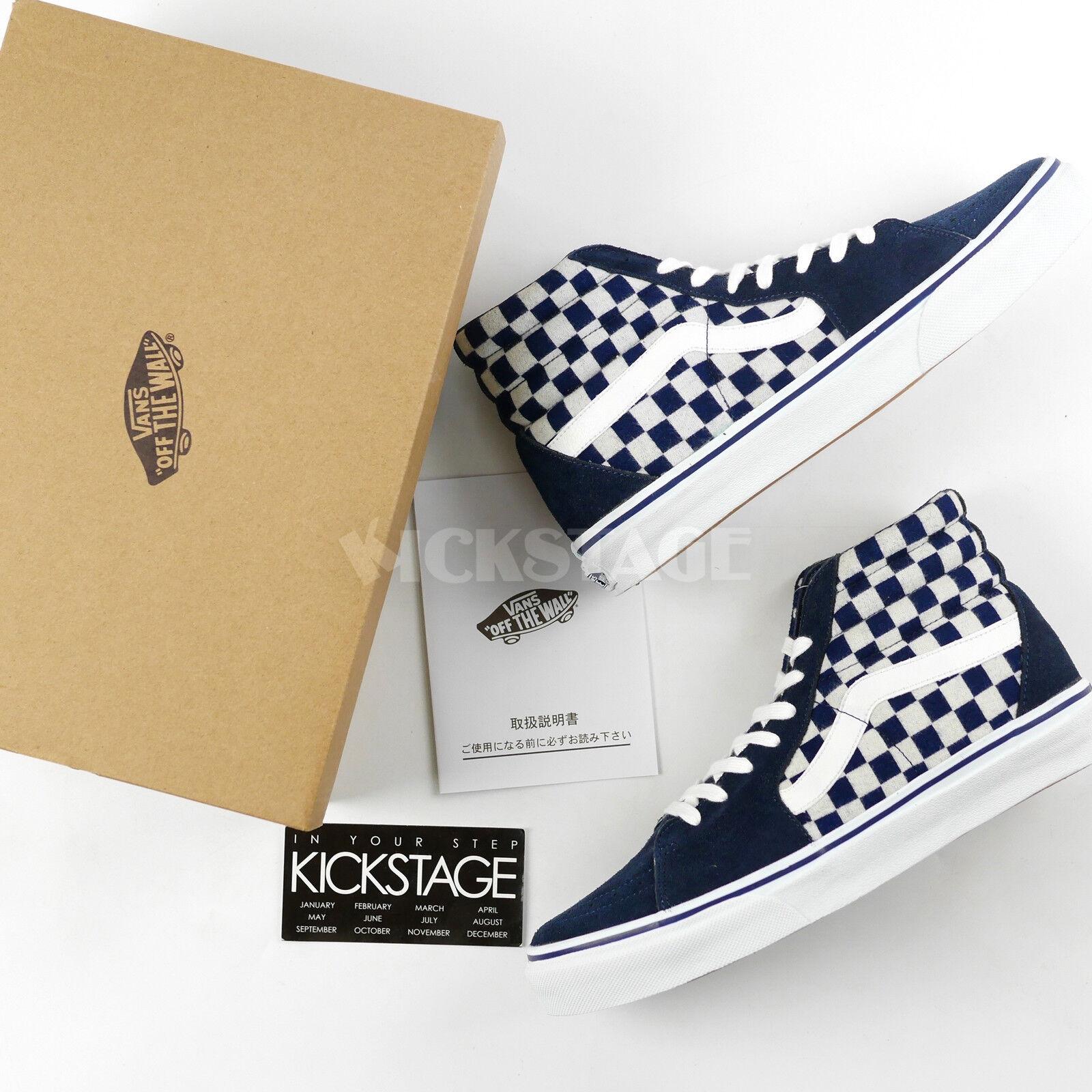 492fc99221 Vans SK8-HI V38CL Japan Indigo Blue Checkerboard Pack White