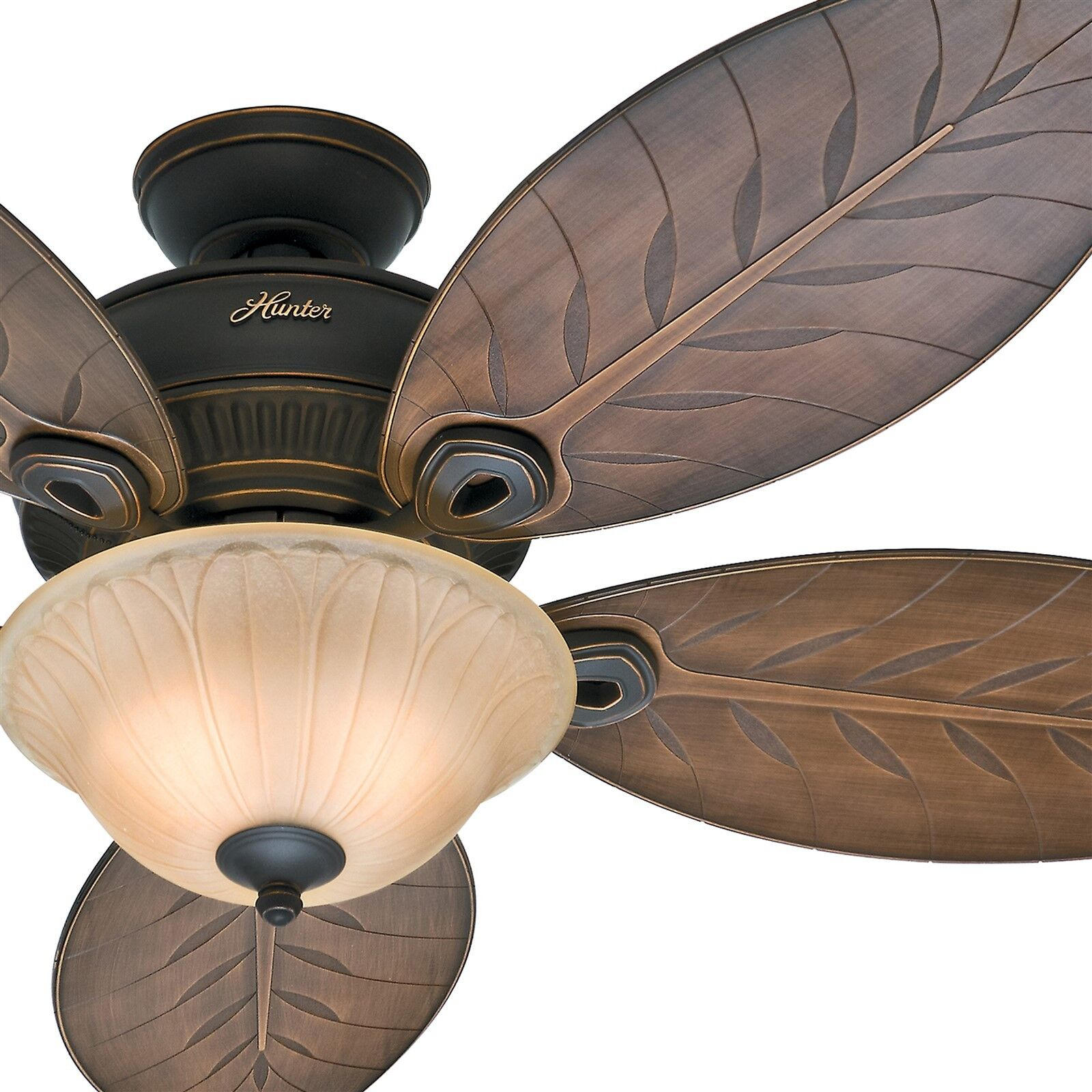 Hunter Fan 54 Outdoor Ceiling Fan With Bowl Light Kit 5 Palm Leaf Blades 840304105618 Ebay
