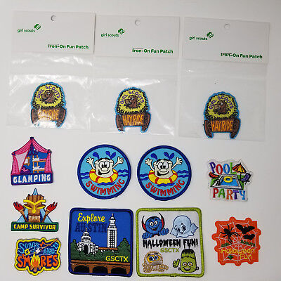 GIRL SCOUT Patches Lot of 12 Austin Texas TX Halloween Swimming Camping Hay Ride
