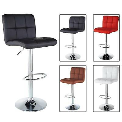 Set of 2 Bar Stools Counter PU Leather Adjustable Swivel Pub Dinning Chairs ()