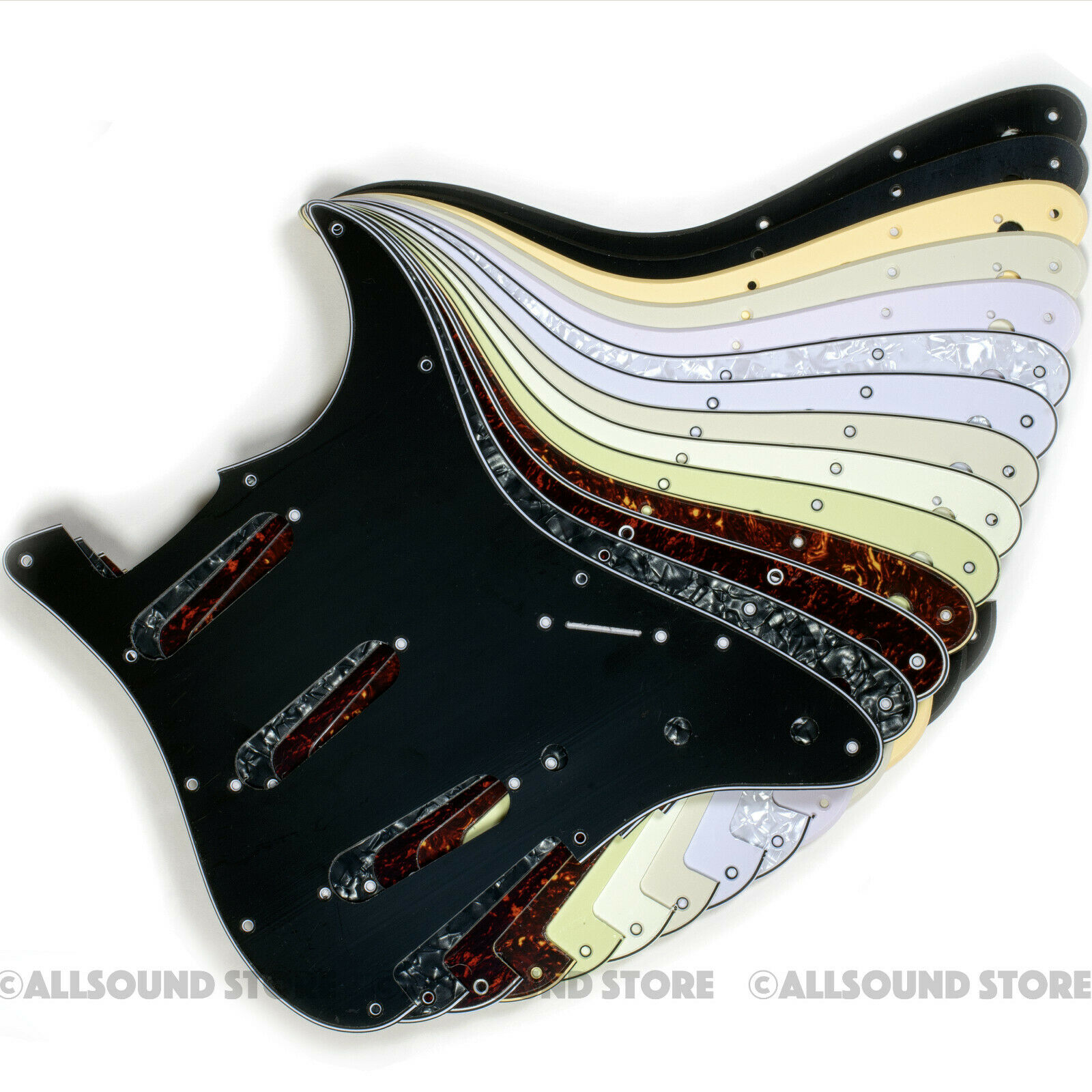 *NEW Alnico 5 LOADED PICKGUARD for Fender Strat Black 3 Ply 8 Hole *NON BEVELED*