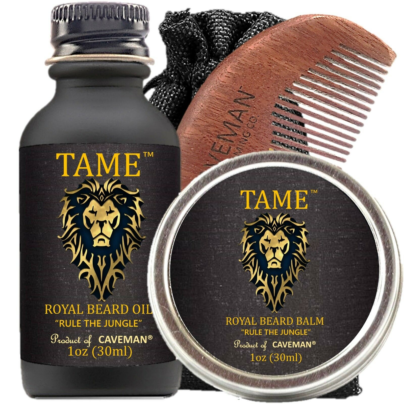 Hand Crafted Caveman® Beard Oil Set KIT Beard Oil + Balm FREE Comb