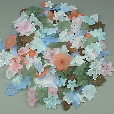 150g Acrylic Frosted Lucite Flower Leaf Beads Mix - Jewellery Making & Craft