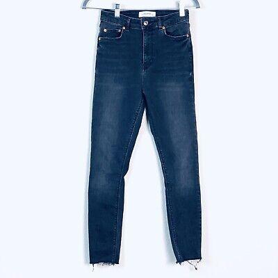Zara Womens Size 6 Gray charcoal High Waist Ankle Raw Hem cropped skinny jeans