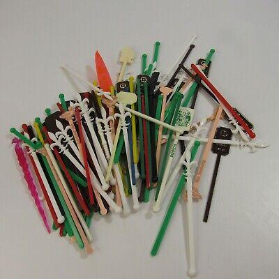 Drink Swizzle Sticks (Vintage Lot of 111 Swizzle Sticks Barware Collection Drink Stir Stick)
