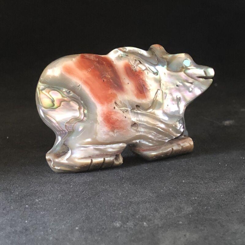 Zuni Abalone Bear FETISH by Jeffrey Yunie Unique Gifts Tq Eyes 5744