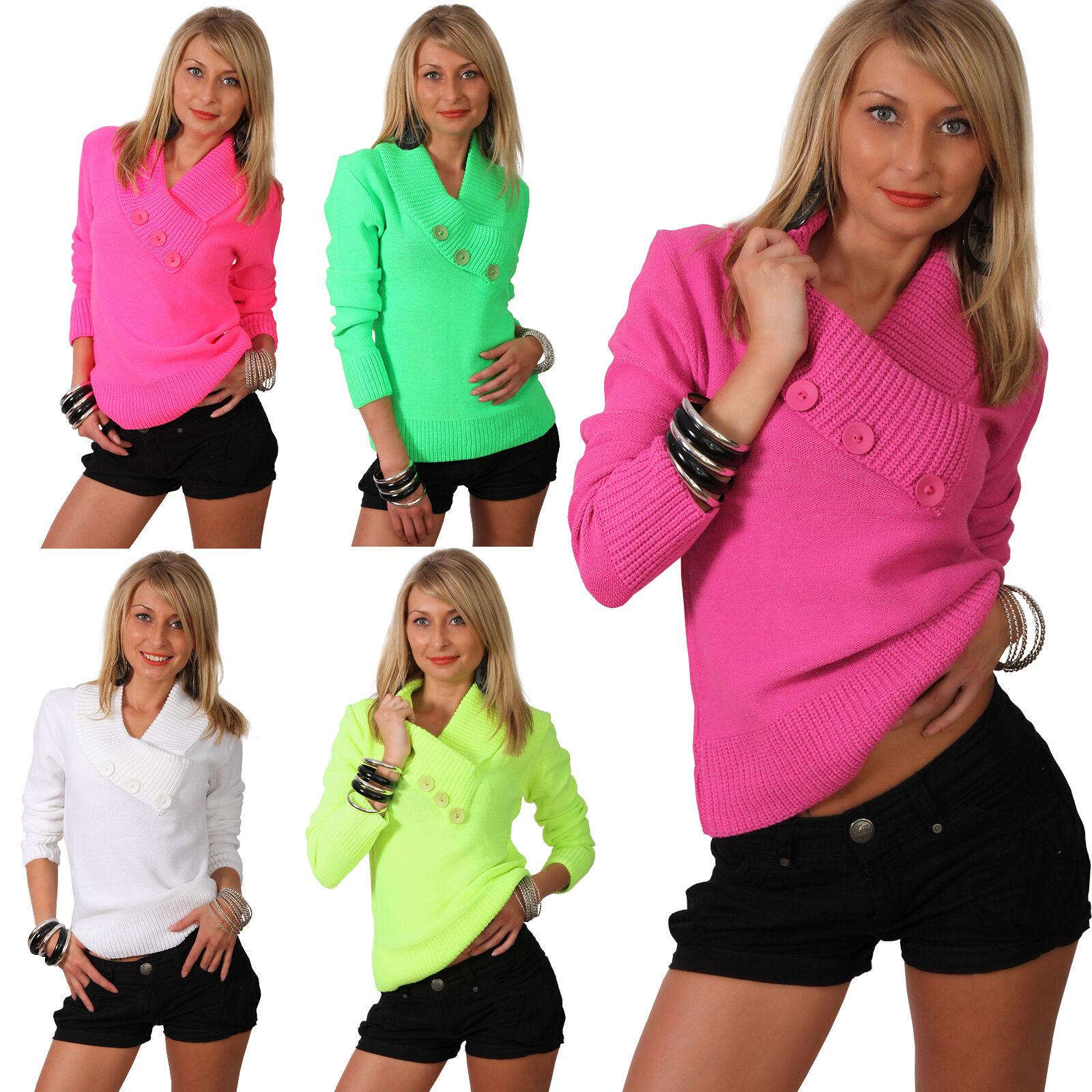 Schlauchschal Kragen Pullover Strick-Pulli mit Zier-Knopf in Neon-Farben Schal