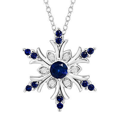 3/8 ct Created Blue & White Sapphire Snowflake Pendant in Sterling Silver