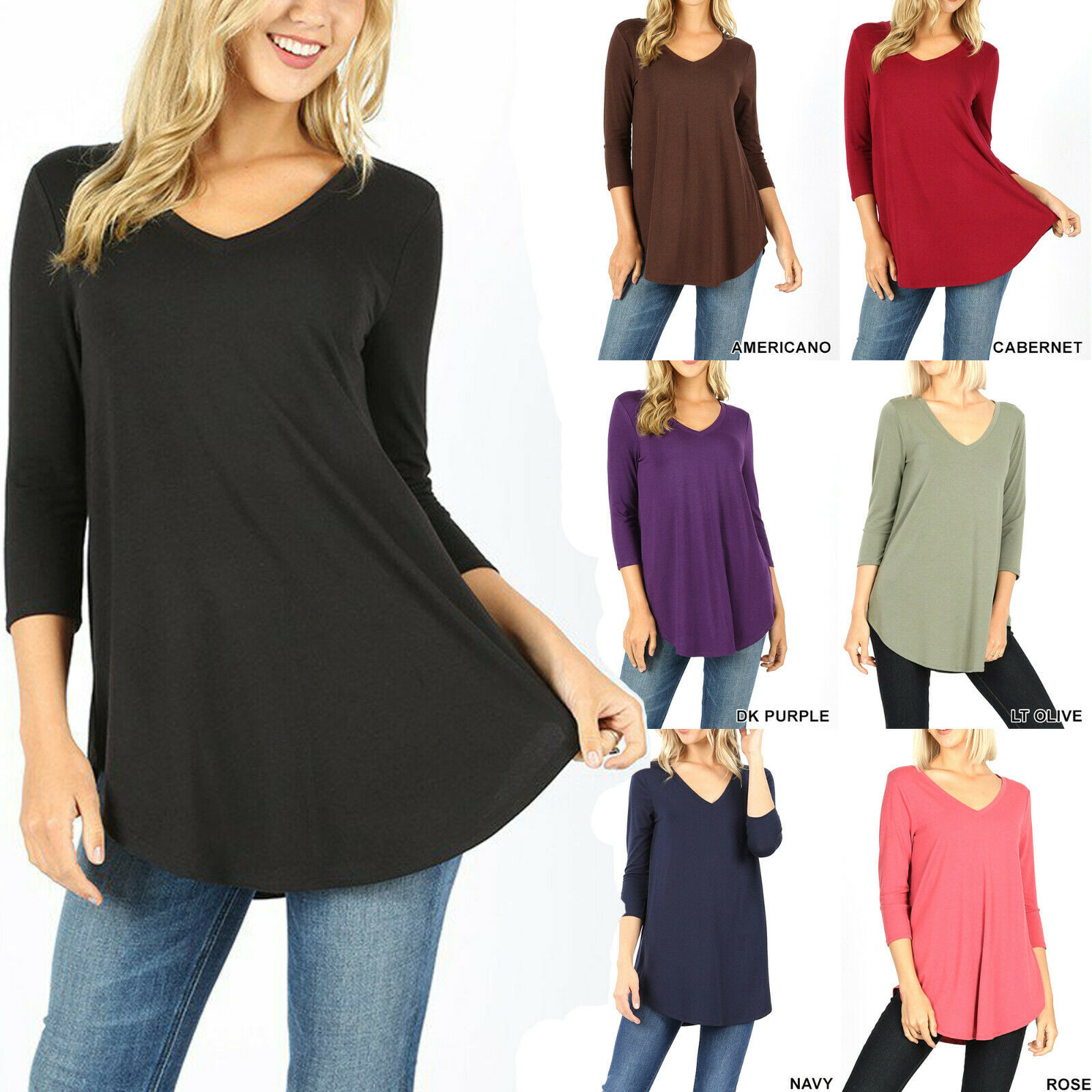 Womens 3/4 Sleeve T-Shirt V-Neck Casual Basic Tunic Top Long