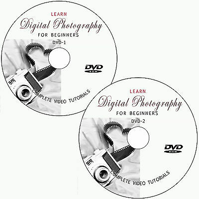 LEARN DIGITAL PHOTOGRAPHY ON 2 DVD FOR BEGINNERS VIDEO TUTORIALS TRAINING DSLR