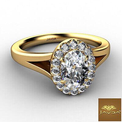 Halo Split Shank Oval Diamond Engagement French Pave Set Ring GIA F VVS1 0.70Ct 5