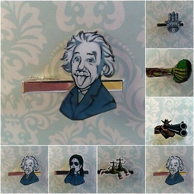 T093 Einstein Michael Hamsa funky funny eye catching tie clip clasp - Funky Halloween Eyes