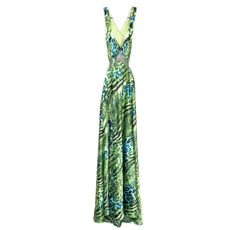 Deb Formal Dress Junior Size 3/4 Rhinestone Bling Cut Out Prom Dance Green Print