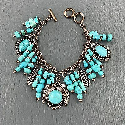 Bohemian Antique Cooper Turquoise Stone Leaf Design Charms Bangle Bracelet