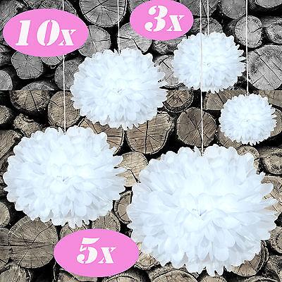 DIY PomPoms M-XXL 3/5/10er Set 15-35cmØ in weiß, Hochzeit, Papierblume, PomPon,