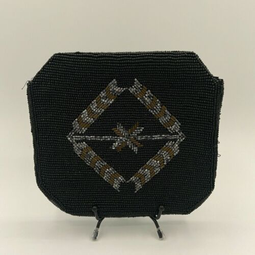 Vintage Beaded Black Clutch Purse with silver & gold geometric design