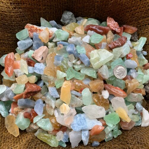 1000 Carat Lots of (SMALL) Natural Mixed Calcite Rough + FREE Faceted Gemstone