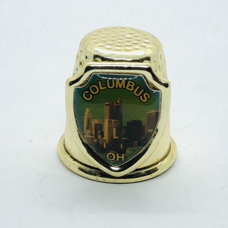 Columbus Ohio Souvenir Gold Tone Metal Thimble w/ City Skyline