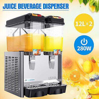 Commercial 2 Tank Juice Beverage Dispenser Cold Drink W Thermostat Controller