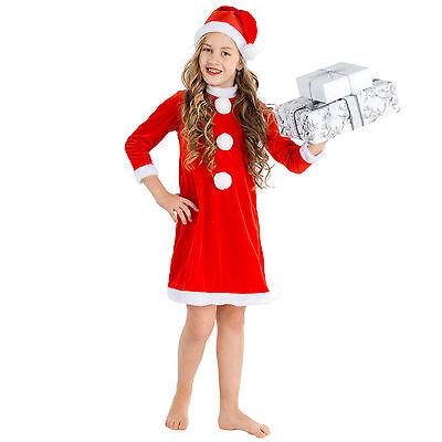 �m für Kinder Mädchen Nikolaus Mütze Weihnachtskostüm Kleid (Weihnachten Kleid Für Kinder)