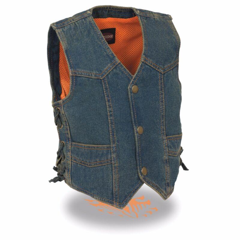 Milwaukee Leather Kids Basic Denim Vest **Snap Closure** & **Side Lace** MDK3900