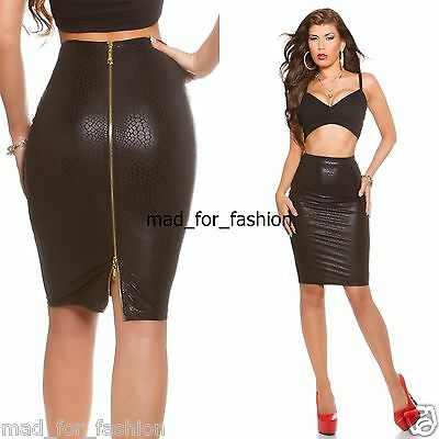 Sexy Koucla Wet Look Snake Print Pencil Skirt with Full Back Zip. UK (Back Zip Full Skirt Skirt)
