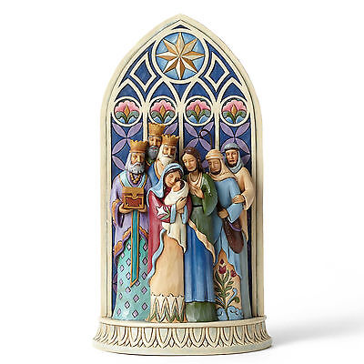 Jim Shore Holy Family by Cathedral Window Christmas Figurine ~ 4049400