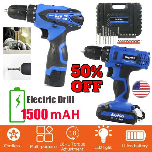 Electric Cordless Drill Driver 1500 mAh LiIon battery Quick Charge 168V 21V