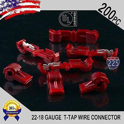 200 Pack T-taps Red 22-18 Awg Gauge Quick Slide Connectors Car Audio Alarm Ul
