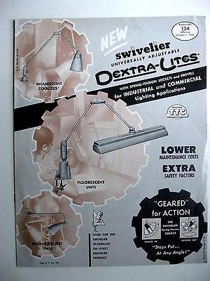 1953 DEXTRA-LITES SWIVELIER ADJUSTABLE LIGHTING, LIGHT FIXTURES BROCHURE