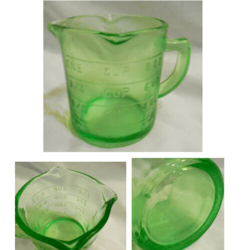 New Green Glass 1 Cup Embossed Measuring Cup 3 Spouts