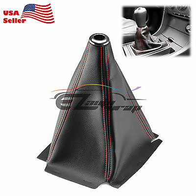 Shift Knob Shifter Boot Cover Black With Red Stitches PVC Leather MT AT Sport - Leather Boot Covers