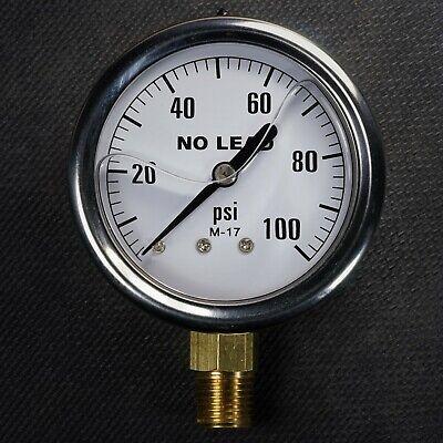New Stainless Steel Liquid Filled Pressure Gauge 0-100 Psi 2.5 Face 14 Npt