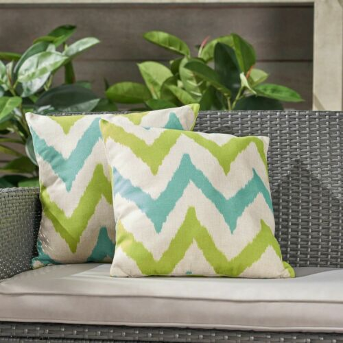 Zora Outdoor 18-inch Water Resistant Square Pillows, Teal and Green Home & Garden