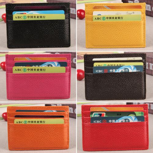 Mens Womens Solid Slim ID Credit Card Holder Small Purse Lea