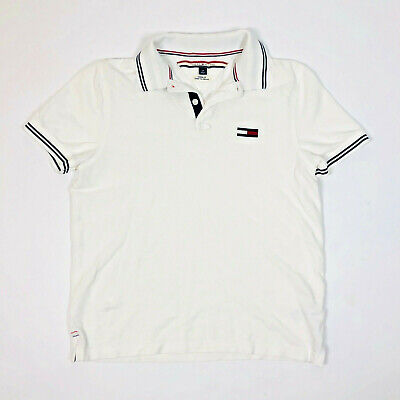 Tommy Hilfiger Logo Junior's Collared Polo Shirt Size Small Cotton White Pull On