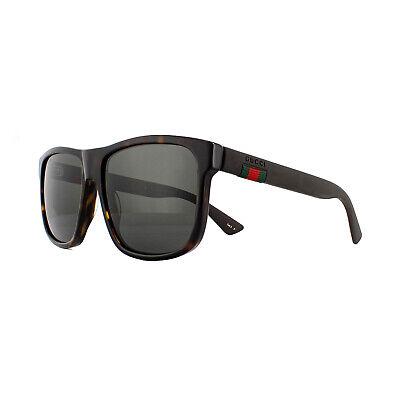 Gucci Sonnenbrille GG0010S 003 Havanna und Grau Grau Polarisiert