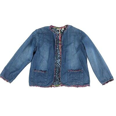 Chicos Open Front Chambray Jacket Womens Size Large (2) Colorful Fringe Trim