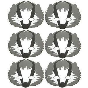 6 Foam Cute BADGER Masks (NEW DESIGN) - Fancy Dress For Children & Grown Ups