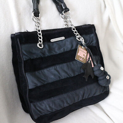 NWT JUICY COUTURE Velour Black Stripes Bird Flower Chain Tote Bag PURSE NEW $228 - Juicy Couture Stripe Velour
