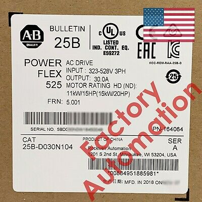 20192020 Us Stock Allen-bradley Powerflex 525 15kw 20hp Ac Drive 25b-d030n104