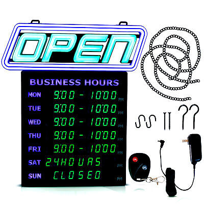 Led Open Sign With Business Hours Stand Out With 1000s Color Combos To Match