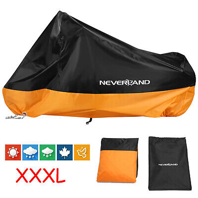 XXXL Black Orange Motorcycle Cover Waterproof For Cruiser Road Glide King (Cover Cruiser Motorcycle)