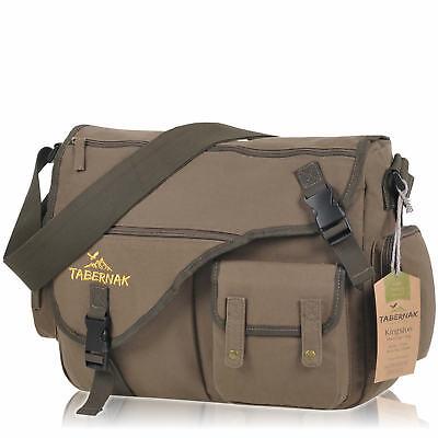 Damen Herren XL Laptop Umhängetasche KINGSTON Canvas Messenger Bag A4 Army