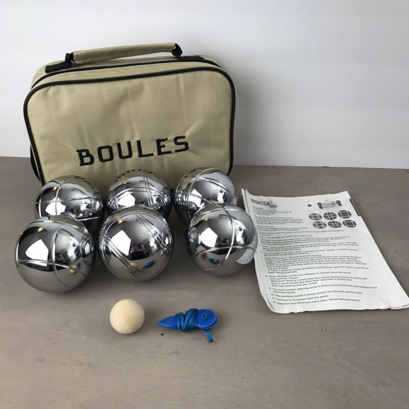 Boules Bocce Ball Set Of 6 Chrome Metal Lawn Tossing Balls in Canvas Case