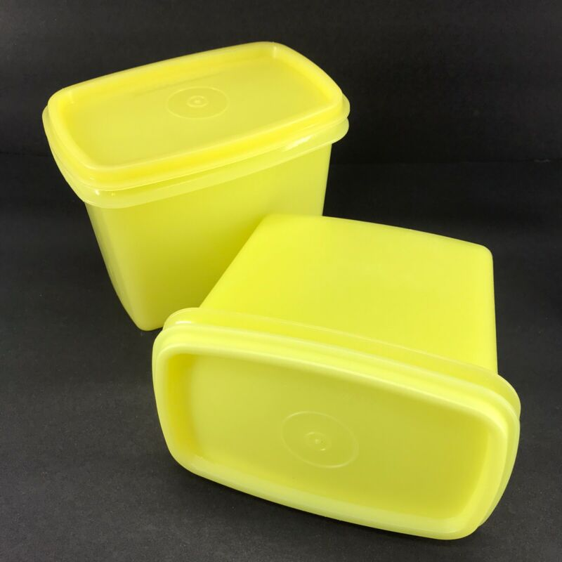 Tupperware Vintage Yellow Shelf Saver Containers Set of 2 #1243 #1244