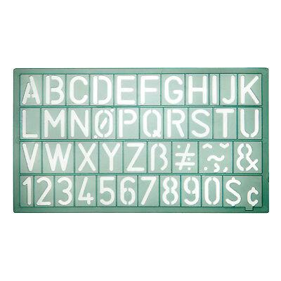 Schablone, Buchstaben und Zahlen, 20mm Schrifthöhe, Schabl-größe ca.19,0x10,9cm ()