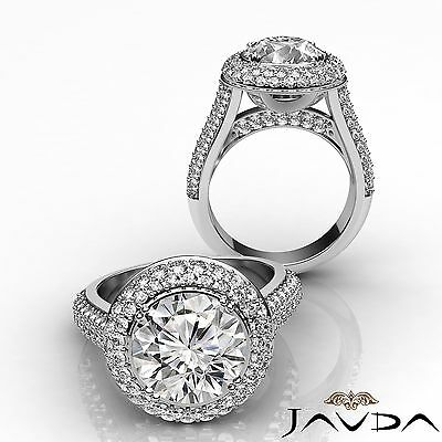 3 Row Shank Double Halo Round Diamond Engagement Ring GIA F SI1 Clarity 2.5 Ct