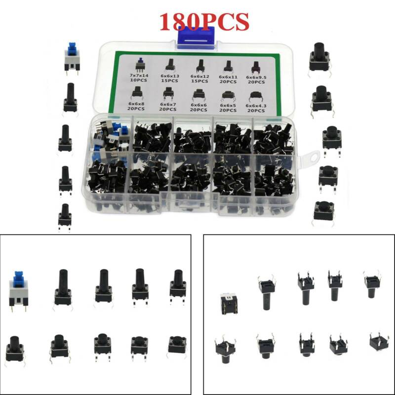 180Pcs 10 Values Tactile Push Button Switch Micro Momentary Tact Assorted Kit S7