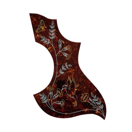 Hummingbird Pickguard for Gibson Acoustic Guitar, Adhesive back, Tortoise